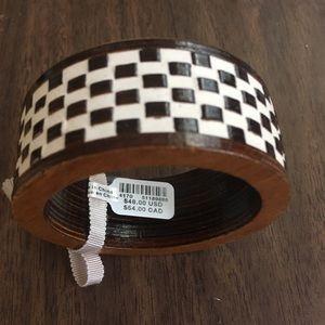 Anthropologie checkered wooden bangle bracelet